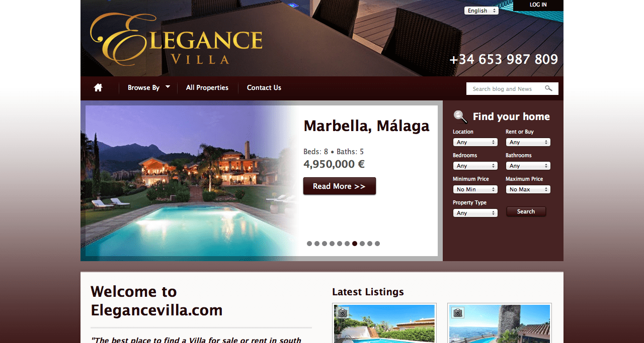 elegancevilla.com website