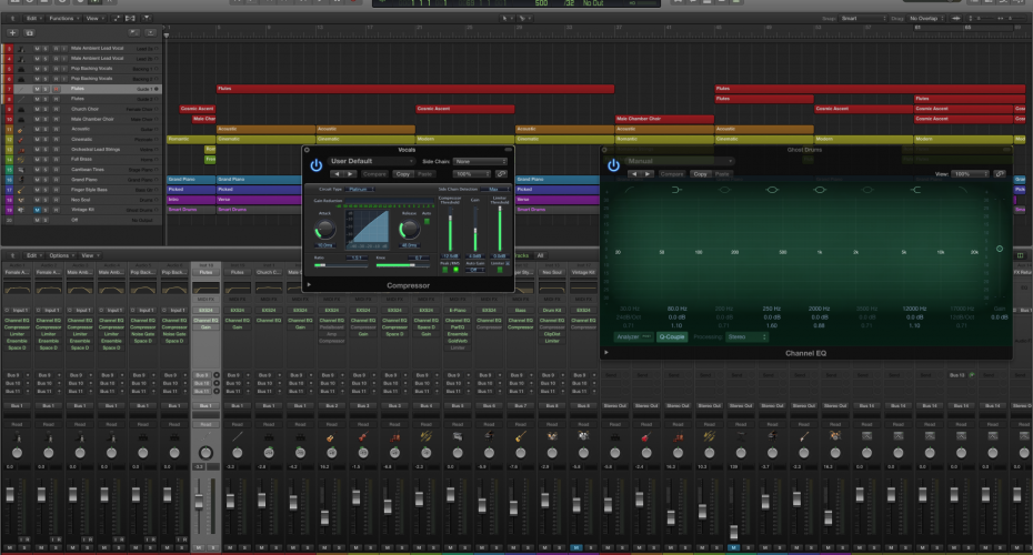 Logic-Pro-X-Bright-Green-Skin-With-Plugins